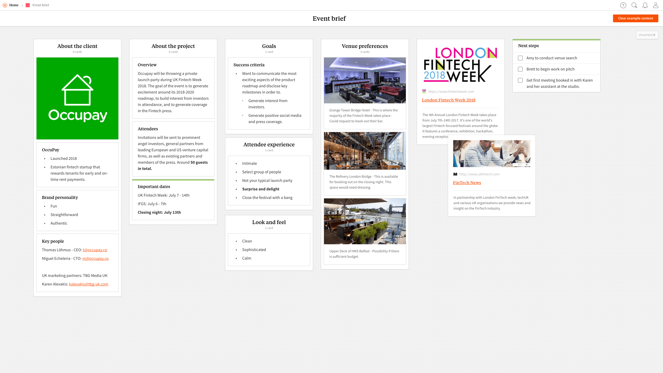 Completed Event Brief template in Milanote app