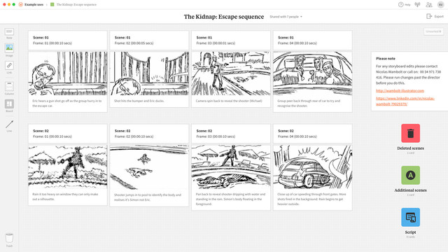 An example storyboard created in Milanote