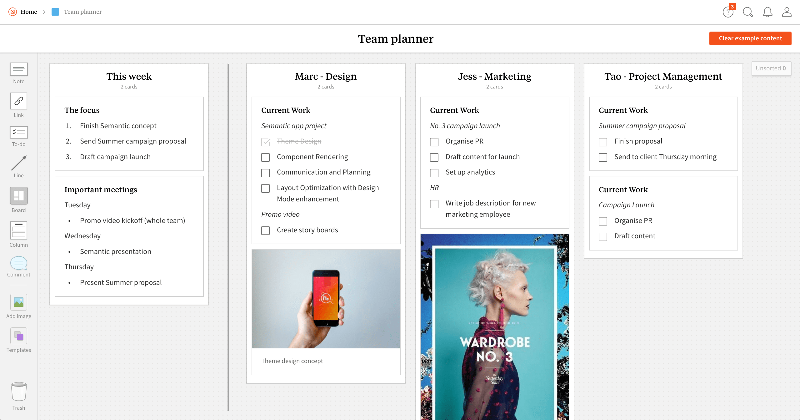 Completed Team Planner template in Milanote app