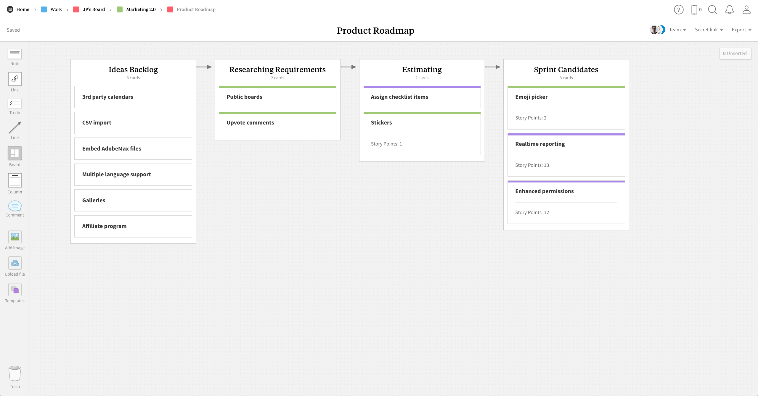 Completed Product Roadmap template in Milanote app