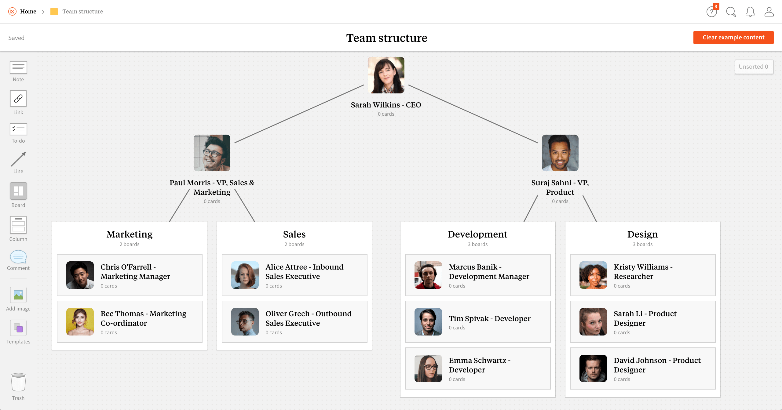 Completed Team Structure template in Milanote app