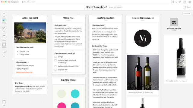 An example of a creative brief created in Milanote.