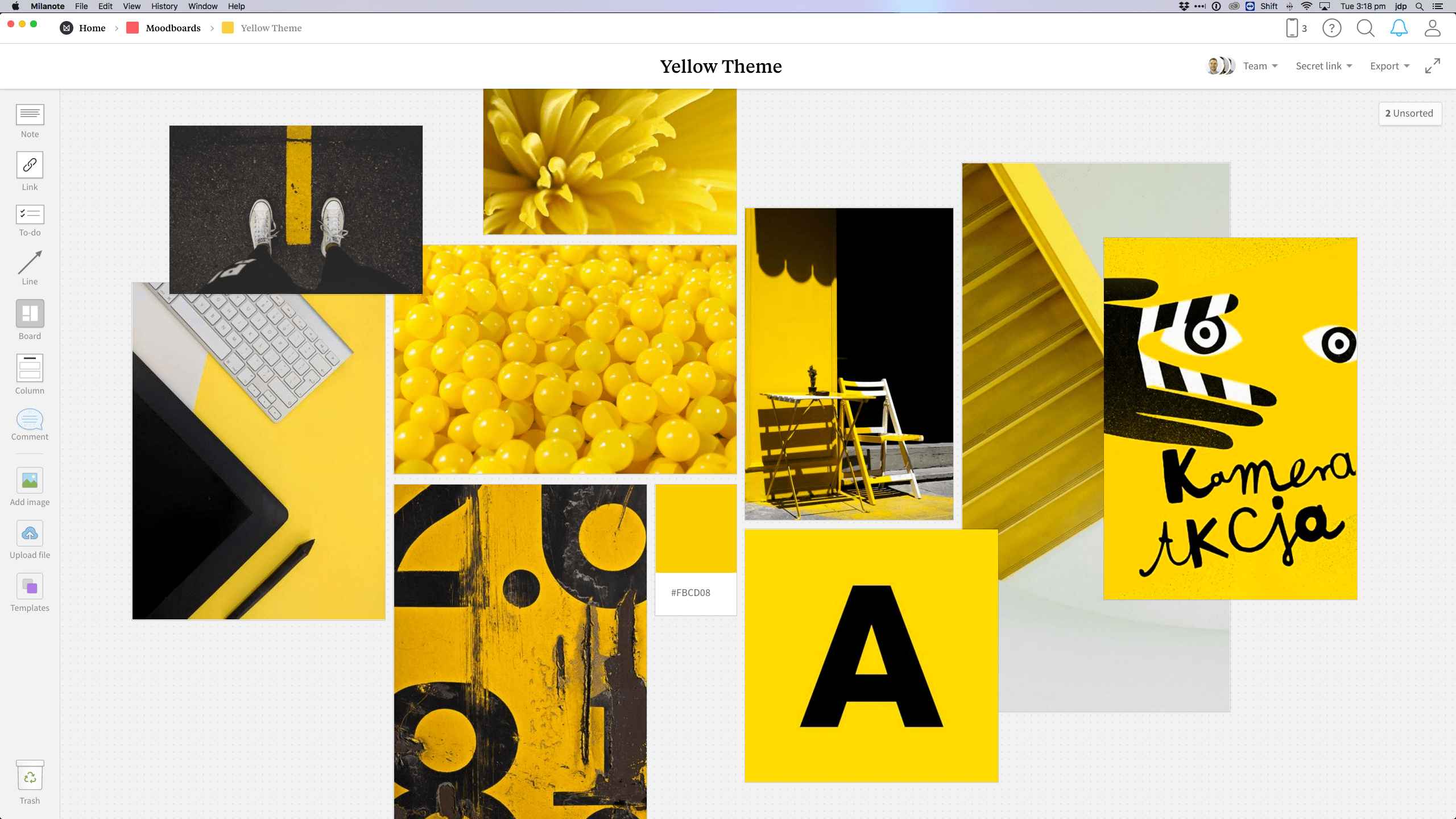 Completed Graphic Design Moodboard template in Milanote app