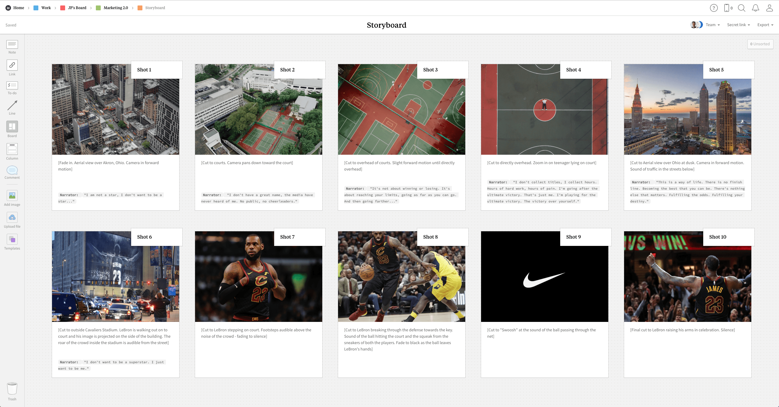 Completed Storyboard template in Milanote app