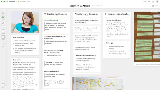 A Milanote board showing a collection of notes and images from a user research interview