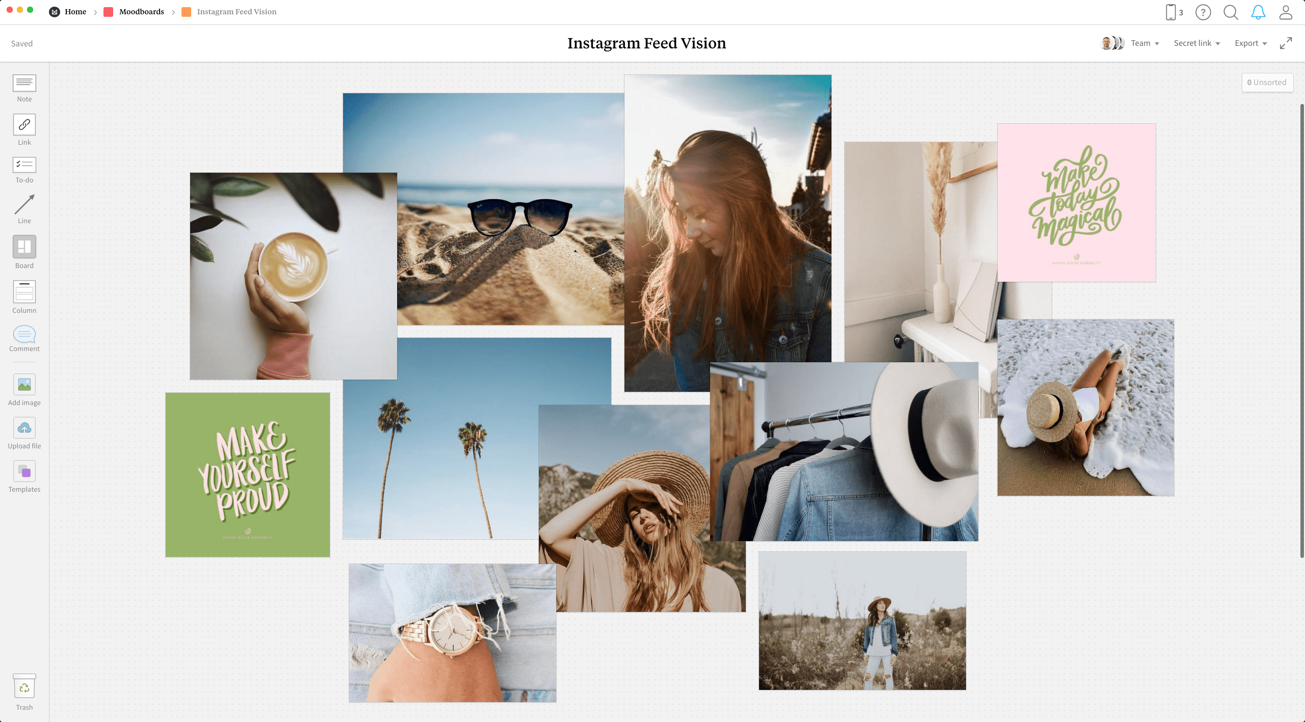 Completed Inspiration Board template in Milanote app