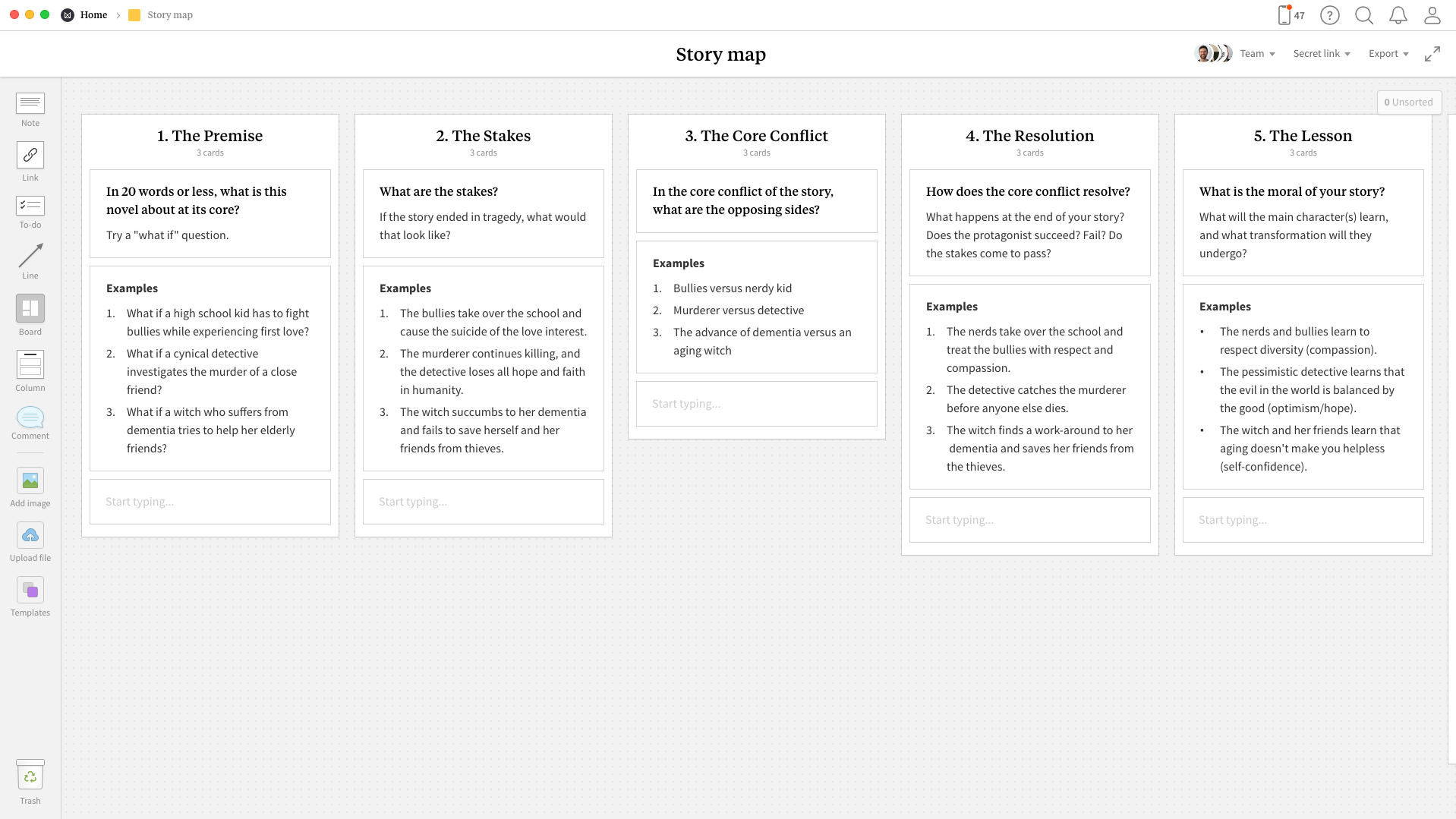 Completed Story Map template in Milanote app