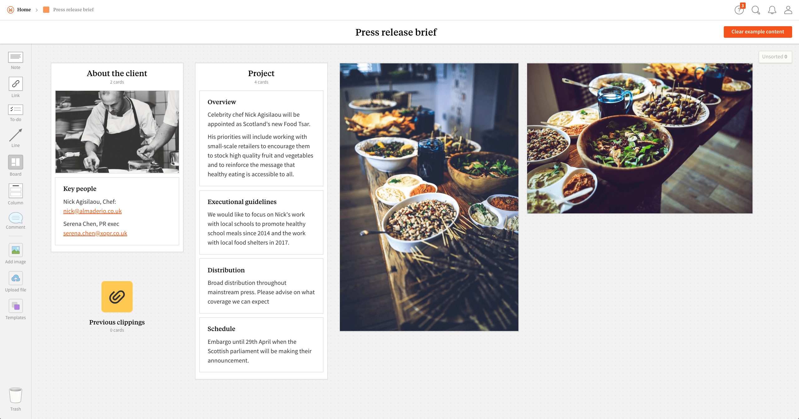Completed Press Release Brief template in Milanote app