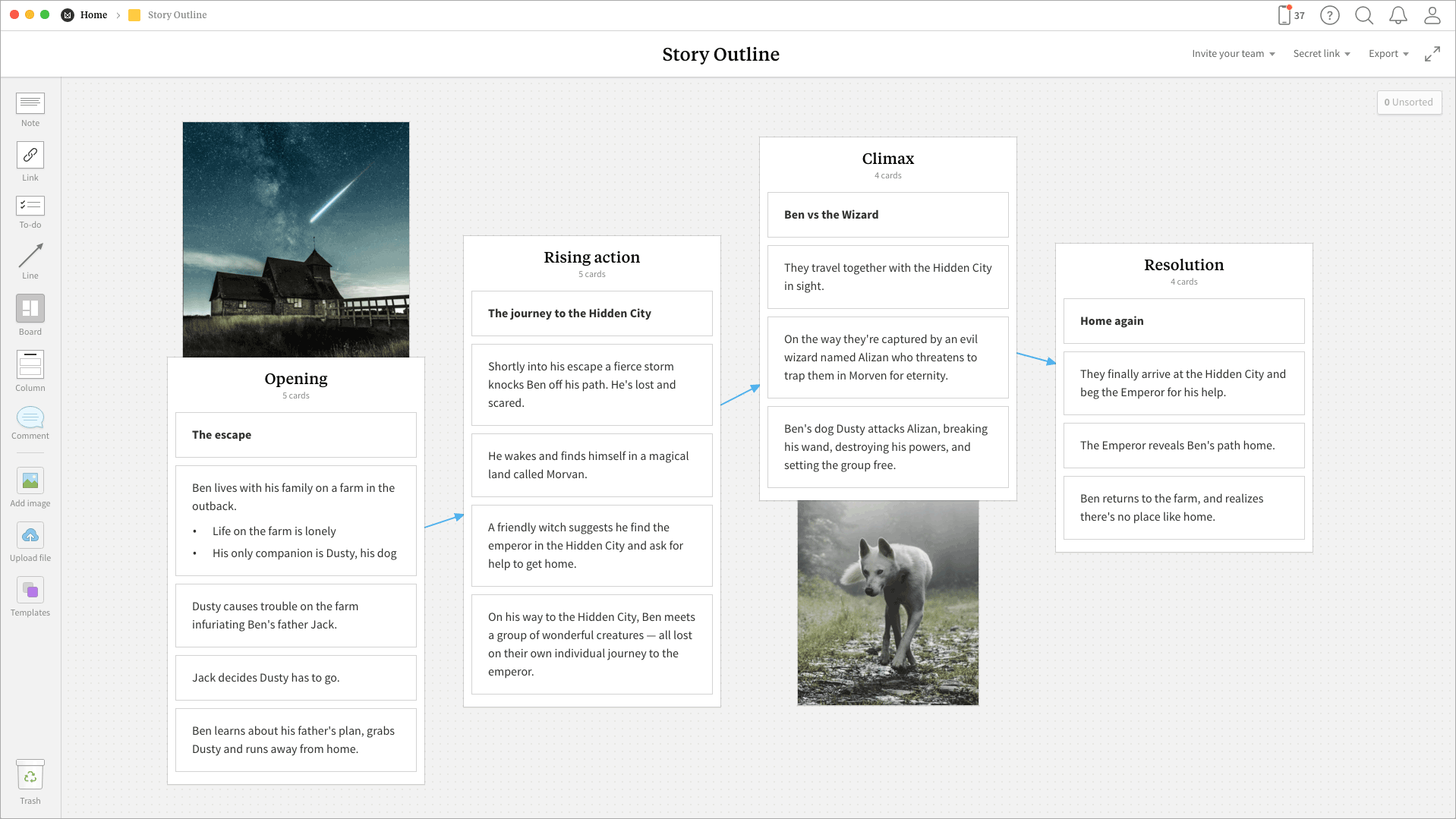 Completed Story Outline template in Milanote app