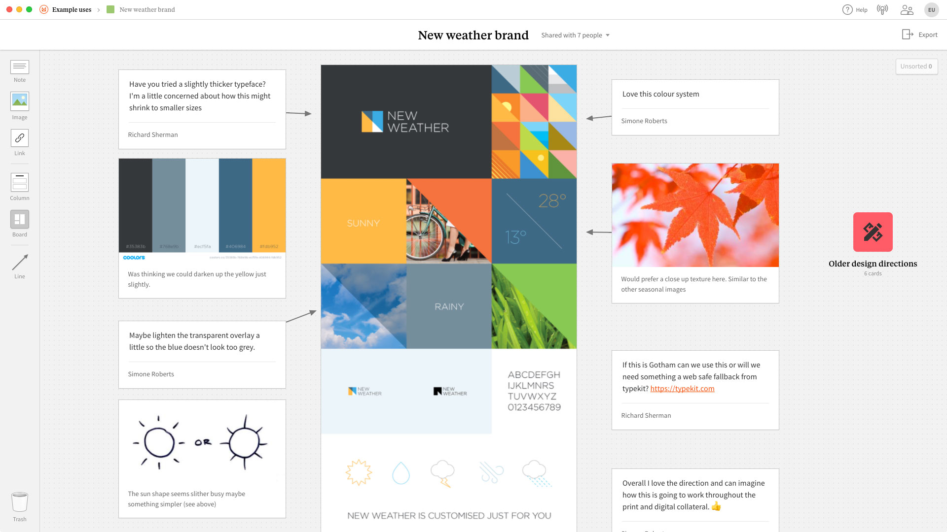 An example of using Milanote to get feedback on a mockup or sketch