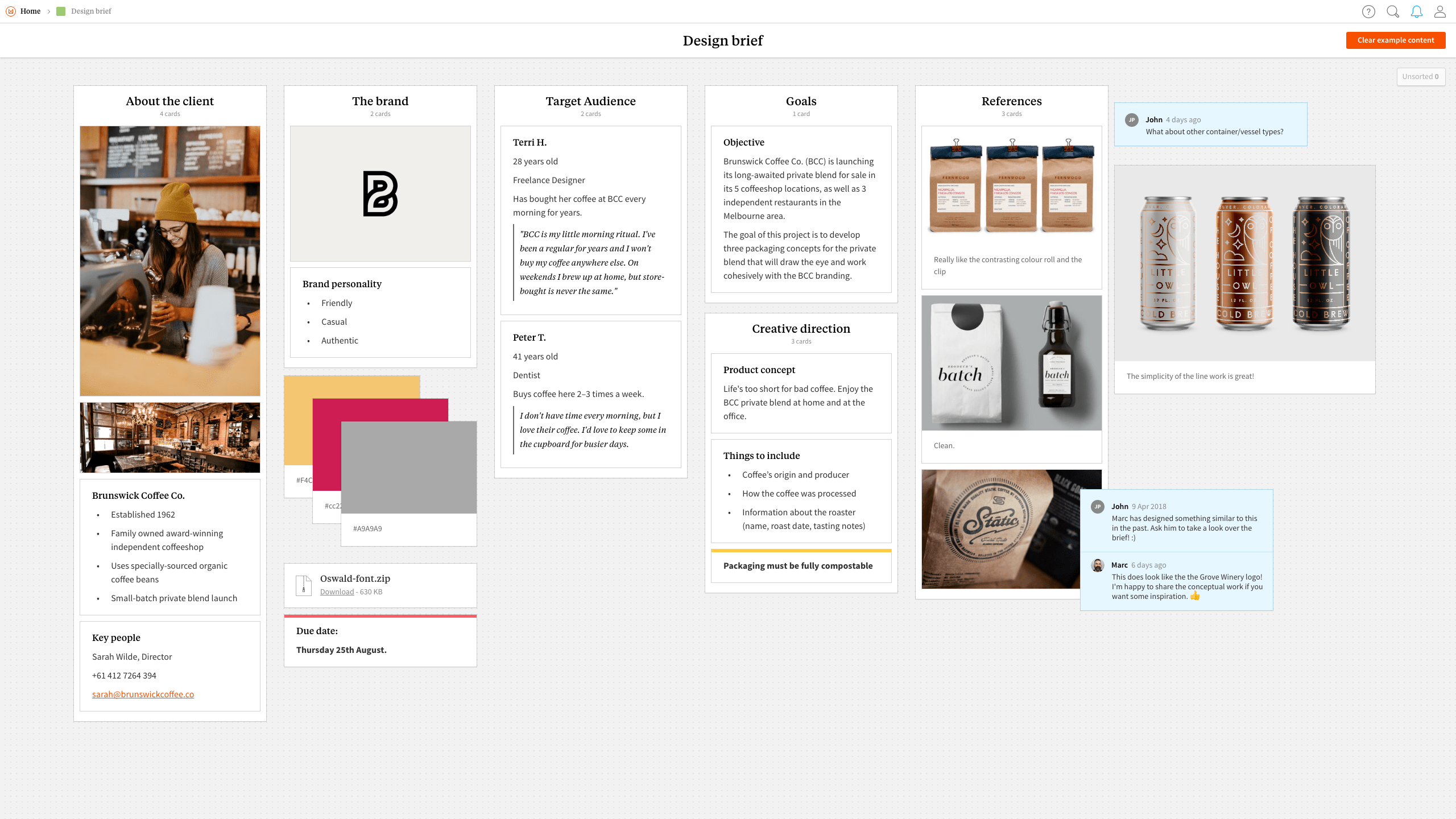 Completed Design Brief template in Milanote app