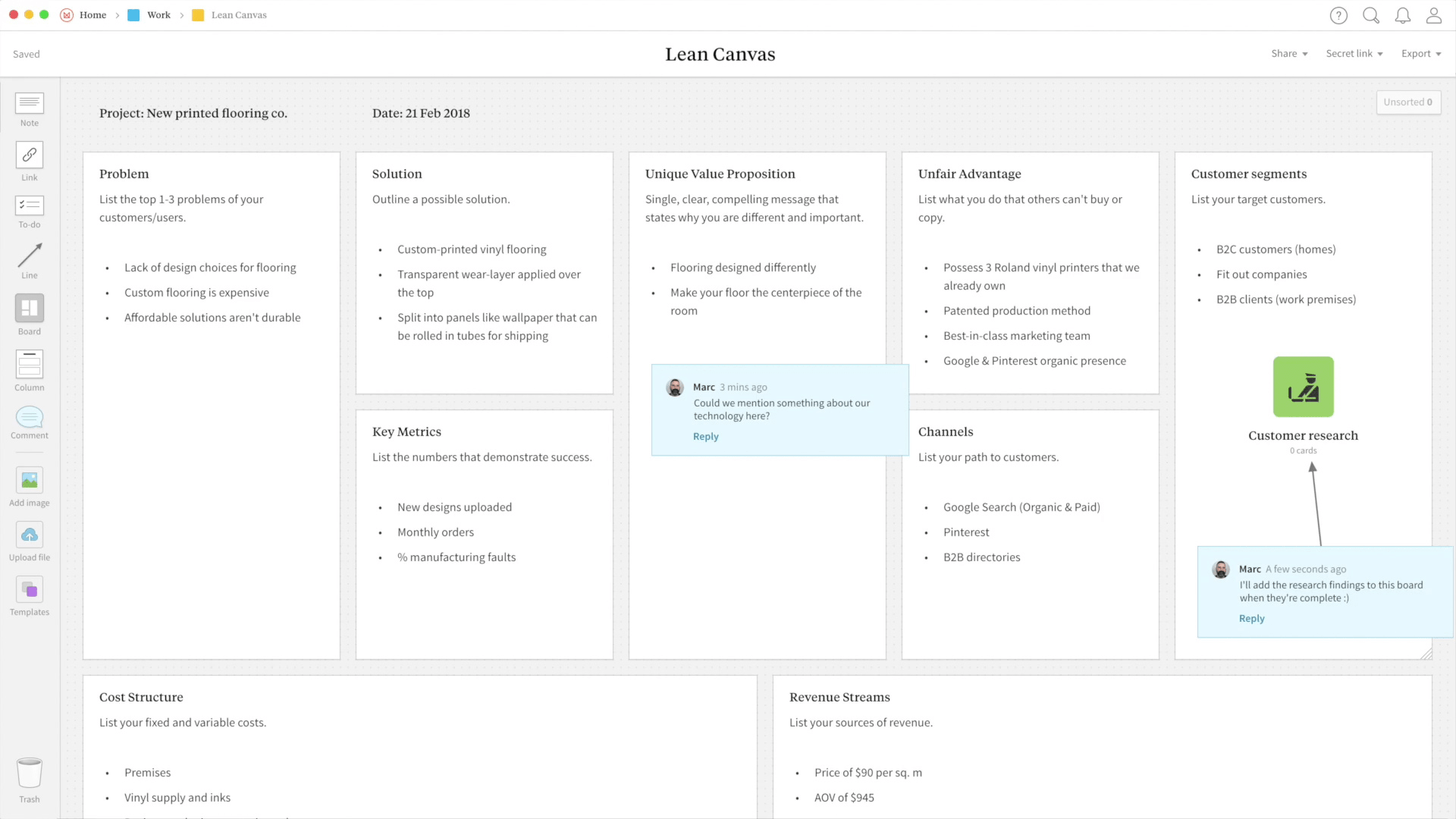 Lean Canvas Template Example Project Milanote