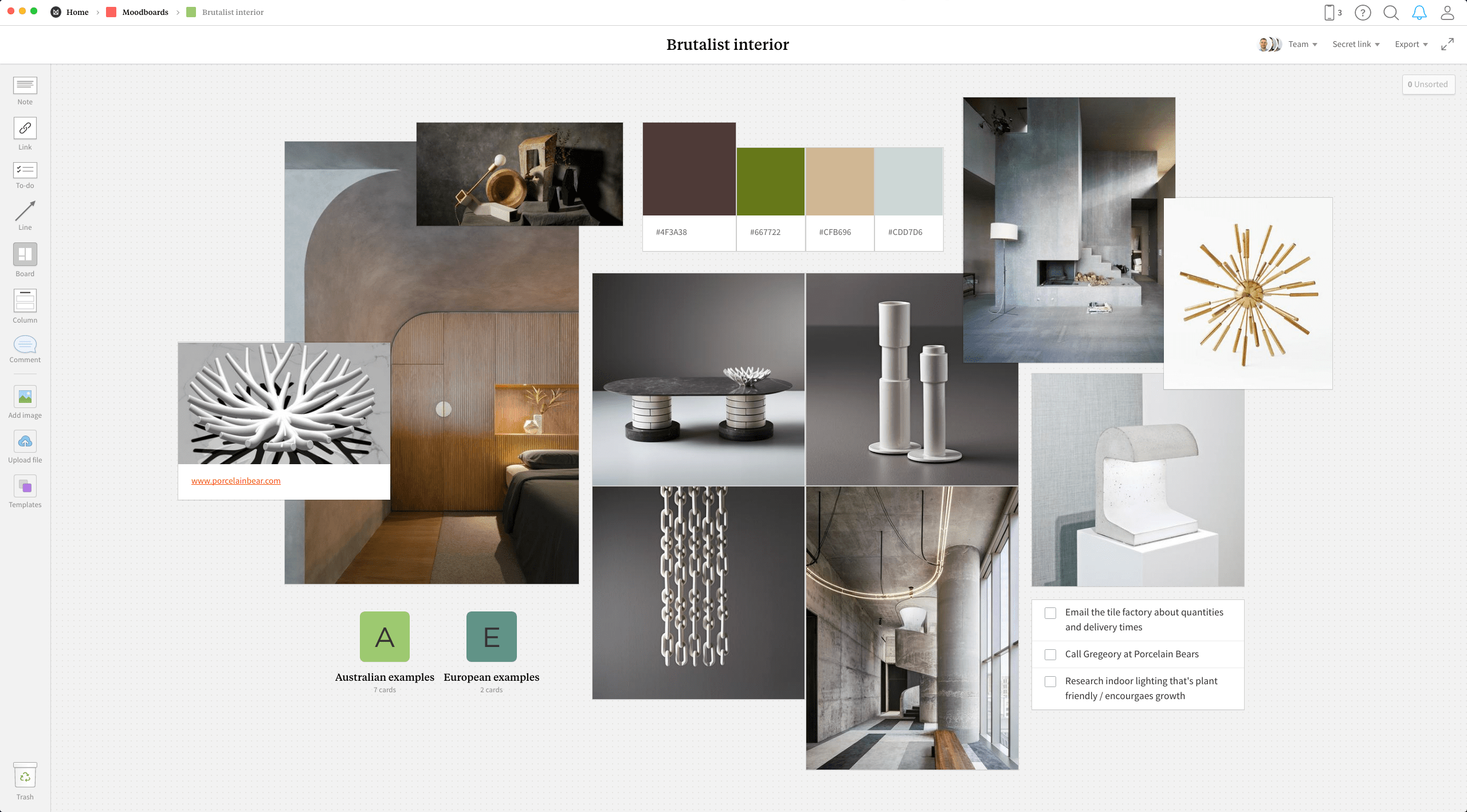Completed Interior Design Moodboard template in Milanote app